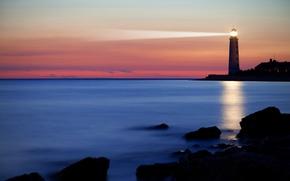 Картинка море, небо, закат, камни, берег, маяк, горизонт, Калифорния, США, прожектор, луч света, Port Hueneme