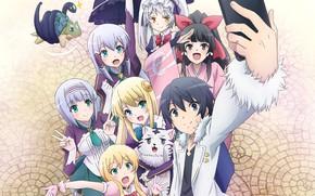 Картинка girl, anime, boy, friends, japanese, smartphone, mahou, In Another World With My Smartphone, Isekai wa …