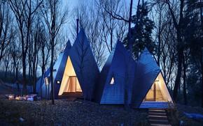 Картинка лес, дизайн, дома, Nasu Tepee