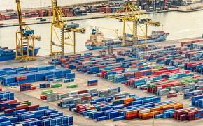 Картинка Порт, Судно, Контейнеровоз, Краны, Терминал, Контейнера, Maersk, Maersk Line, Контейнер, Затон