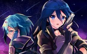 Картинка аниме, арт, Мастера меча онлайн, Sword Art Online, Кирито, Синон