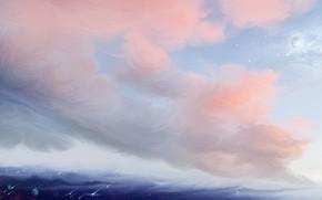 Картинка планета, розовые облака, звездопад, by exobiology