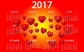 Обои желтый, красный, дизайн, фон, графика, новый год, вектор, сердца, цифры, сердечки, ярко, календарь, год, дата, ...