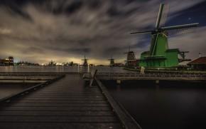 Обои огни, Нидерланды, ветряная мельница, ночь, Зансе-Сханс, скамья, облака