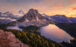 Картинка осень, лес, горы, гора, Канада, озёра
