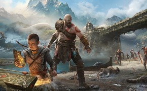 Обои Kratos, Кратос, God of War (PS4), Sony Santa Monica, Atreus, God of War