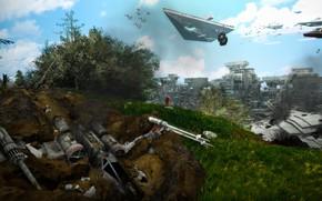 Картинка растительность, холм, сооружения, летающие аппараты, Crash Landing