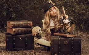 Обои сундуки, микроскоп, череп, девушка, книги, локоны, шляпа