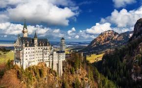 Картинка пейзаж, замок, Германия, Neuschwanstein Castle, Замок Нойшванштайн
