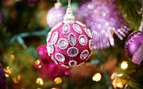 Картинка макро, фон, праздник, игрушка, елка, новый год