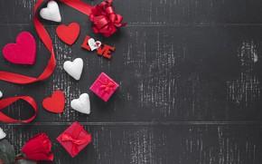 Картинка праздник, роза, Love, лента, подарки, сердечки, valentine's day