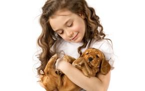 Картинка радость, улыбка, волосы, девочка, щенок