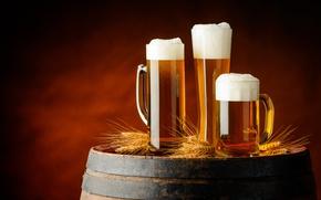 Картинка пена, пиво, колосья, кружки, бочка