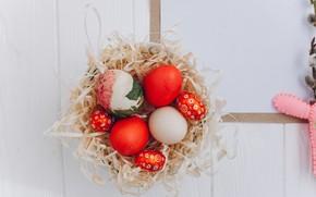Картинка яйца, весна, пасха, гнездо, Праздник