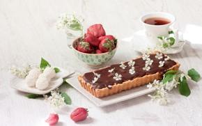 Картинка ягоды, чай, шоколад, клубника, конфеты, пирог, выпечка, жасмин, рафаэлло