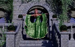 Обои замок, девушка, зелёное платье