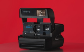 Картинка красный, камера, фотоаппарат, красный фон, Polaroid