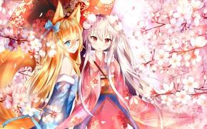 Обои девочки, аниме, зонт, Girls Frontline, цветы
