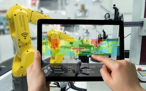 Картинка cенсорный экран, нанотехнолог, робототехникой, cyberspace, technology, wallpaper., боке, планшет, hi-tech, автоматической машиной, исследования управления