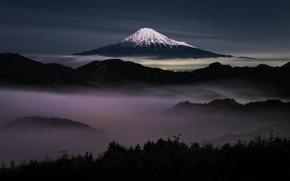 Картинка небо, ночь, туман, гора, Япония, гора Фуджи, Фудзияма