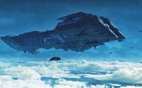 Картинка небо, облака, транспорт, корабли, Flying High