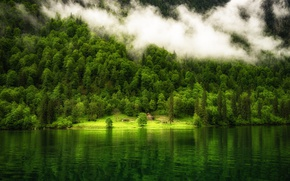 Картинка green, colorful, house, forest, trees, landscape, nature, water, mountain, fog, reflection, mist, Lake