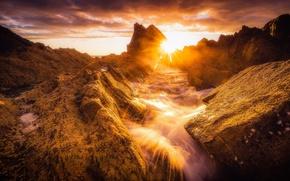 Картинка скалы, рассвет, побережье, Шотландия, Scotland, Morayshire