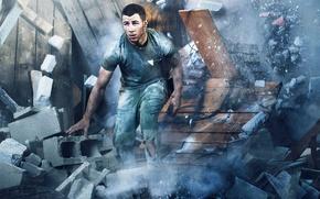Обои доски, развалины, кирпичи, бедствие, Complex, Nick Jonas, Ник Джонас, Gavin Bond