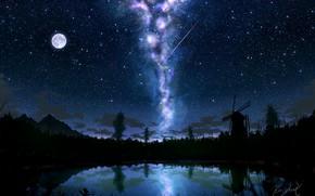 Картинка небо, озеро, луна, мельница, млечный путь