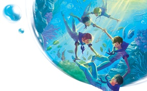 Картинка рыбки, капля, белый фон, подводный мир, друзья, матроска, Nanase Haruka (Free!), Matsuoka Rin, Hazuki Nagisa, …