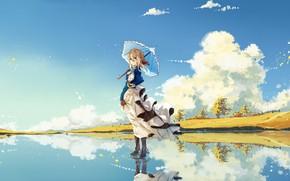 Картинка Небо, Девушка, Пейзаж, Violet Evergarden