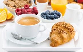 Картинка ягоды, кофе, завтрак, breakfast, круассан, мюсли, muesli, fresh berries