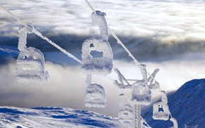 Картинка зима, снег, туман, Швеция, Скандинавские горы, гора Орескутан, горнолыжный подъёмник, лен Емтланд