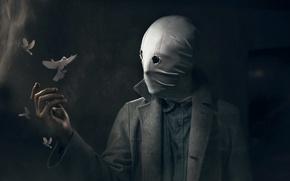 Картинка человек, маска, голуби