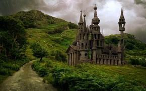 Картинка дорога, трава, горы, замок