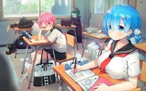 Картинка kawaii, anime, Ram, maid, bishojo, seifuku, Rem, light novel, japonese, Re:Zero kara Hajimeru Isekai Seikatsu, …