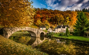 Картинка house, river, bridge, autumn, countryside, foliage
