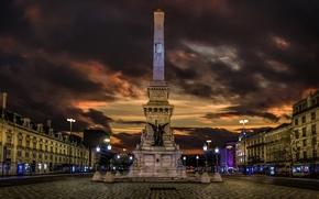 Картинка ночь, огни, дома, площадь, памятник, Португалия, обелиск, Лиссабон
