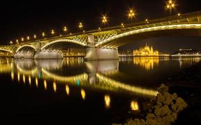 Картинка ночь, огни, река, Парламент, Венгрия, Будапешт, Дунай, мост Маргит