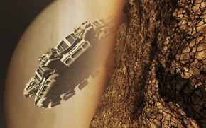 Картинка корабль, планета, mercator, Behind the Rock