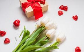 Картинка букет, сердечки, тюльпаны, love, бант, fresh, flowers, romantic, hearts, tulips, Valentine's Day, gift