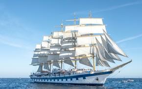 Обои море, Франция, парусник, паруса, катера, France, Средиземное море, Royal Clipper, Mediterranean Sea, Saint-Tropez, Сен-Тропе