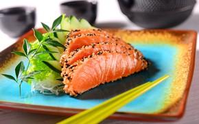 Обои тарелка, сервировка, рыба, кунжут