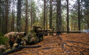 Обои лес, оптика, снайпер, винтовка, наблюдение