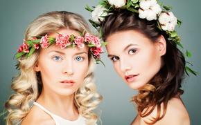Картинка цветы, девушки, брюнетка, блондинка, хлопок, локоны, гвоздики, венки