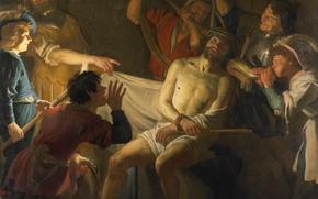 Картинка картина, мифология, Геррит ван Хонтхорст, Коронация Христа Терновым Венцом