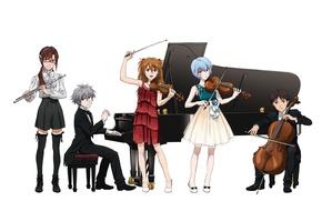 Картинка game, Neon Genesis Evangelion, anime, piano, violin, cello, japanese, flute