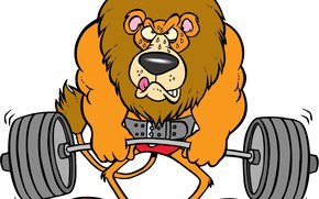 Картинка сила, лев, арт, muscle, мышцы, штанга, Lion, Weights, powerlifting, barbell, пауэрлифтинг