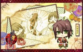 Картинка самурай, иероглифы, зонты, чиби, art, зеленые глаза, Демоны бледной сакуры, Yukimura Chizuru, Okita Souji, Hakuouki …
