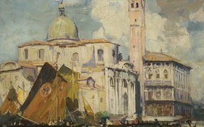 Картинка картина, городской пейзаж, Arthur Streeton, Палаццо Лабиа. Венеция, Артур Стритон